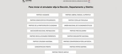 Simulador con precandidatos oficiales, disponible en página web del TSJE