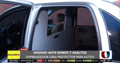 Ante robos y asaltos, emprendedor crea mampara antivandálica para autos