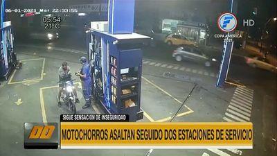 Motoasaltantes roban seguido dos estaciones de servicios en Asunción