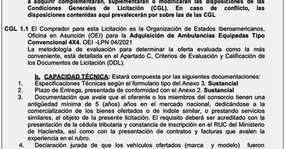 La Nación / Llamativo requisito en compra de ambulancias