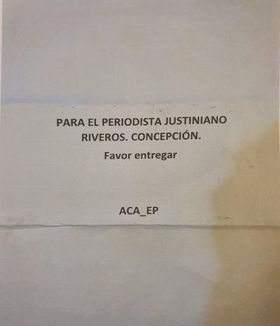 ACA-EP envia panfleto reivindicativo a periodista
