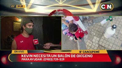 Barrio Caacupemí: Kevin necesita un balón de oxígeno.