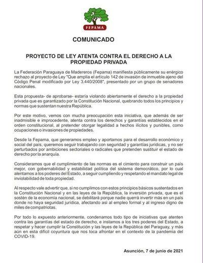 """Fepama considera """"inadmisible"""" el cuestionado proyecto de Ley que atentaría contra propiedad privada"""