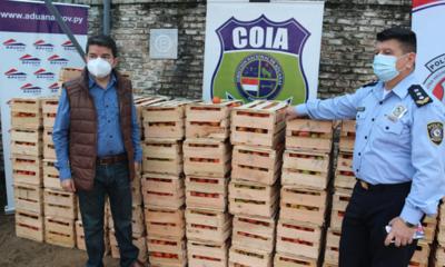 Operativo anticontrabando incautó 300 cajas de tomate a orillas del río Paraguay
