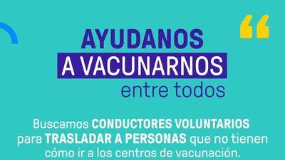 Buscan conductores voluntarios para acercar a adultos a vacunatorios