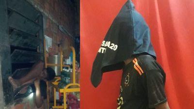 Ola de robos: Entró a un taller, pero se trancó en el balancín