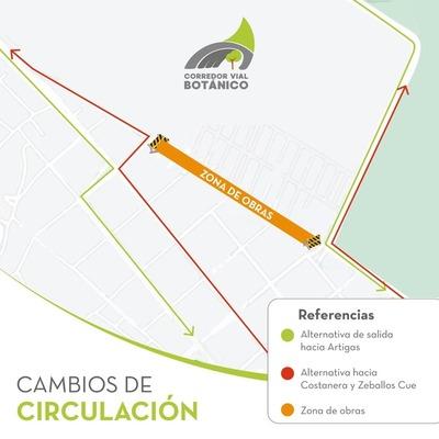 Corredor Vial Botánico: disponen desvíos por obras sobre avenida Primer Presidente