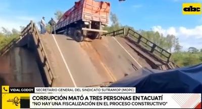Sindicalista denuncia que obras no son fiscalizadas por el MOPC