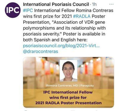 Dermatóloga paraguaya obtiene primer puesto por investigación sobre psoriasis en congreso latinoamericano