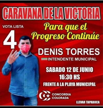 """Intendente de Areguá organiza """"caravana de la victoria"""" a pesar de la crítica situación sanitaria"""