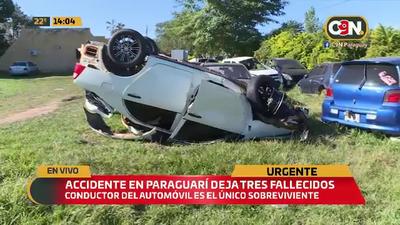 Accidente fatal en Paraguarí: Deja tres fallecidos.
