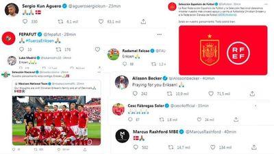 El mundo del fútbol manda fuerzas a Eriksen