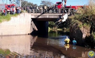 Un auto cae a un arroyo y mueren tres ocupantes en Paraguarí •
