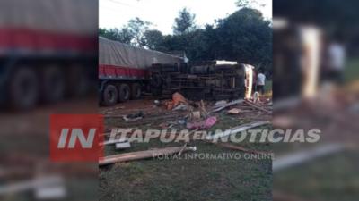 ACCIDENTE DEJA DAÑOS MATERIALES EN CURUÑAI CORONEL BOGADO.