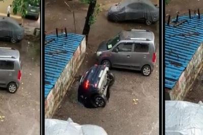 """¡WTF! Un automóvil es """"tragado"""" por la tierra en la India"""