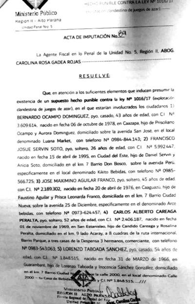 Fiscalía imputa a siete personas por explotación ilegal de juegos de azar