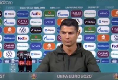 Ronaldo se muestra en contra de bebida que auspicia la Eurocopa