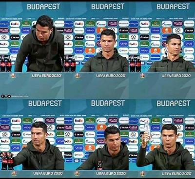 """Gesto de Cristiano Ronaldo durante una conferencia hizo perder millones de dólares a Coca Cola, """"Coca Cola, no, agua sí"""""""