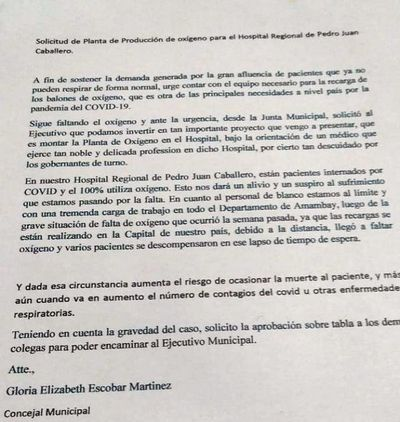 Criminal decisión de la Junta municipal con proyecto de planta de oxígeno para el Hospital Regional
