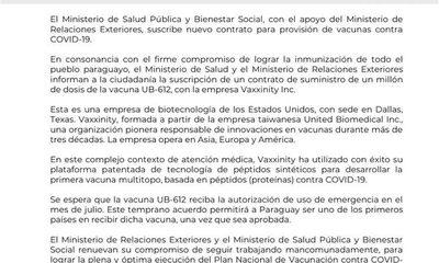 Paraguay suscribe contrato para compra de un millón de vacunas estadounidenses que aun no fueron autorizadas para su uso