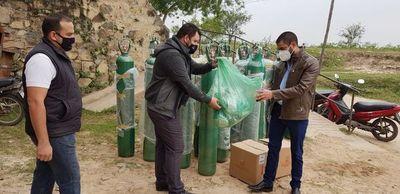 Donan balones de oxígeno a Hospital de Fuerte Olimpo en reparación de daño social