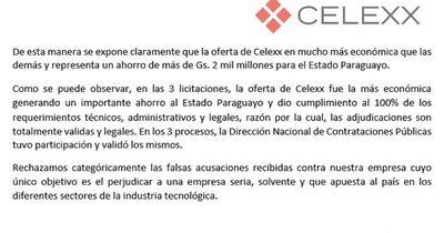 La Nación / Celexx asegura que presentó oferta más baja en licitaciones
