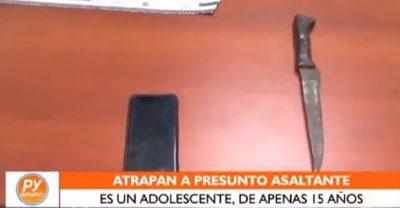 Detienen a adolescente de 15 años por asalto
