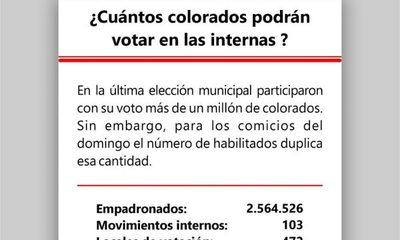 Más de 2,5 millones de colorados elegirán a sus representantes este domingo