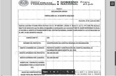 """MOPC aprobó el pliego de bases y condiciones el """"Gran Hospital del Sur"""""""