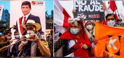 Dos marchas en Perú marcan la polarización política a la espera de la proclamación de resultados