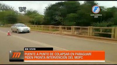 Alerta estado de puente entre Paraguarí y Cordillera