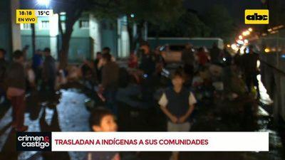 Indígenas que acampaban frente al INDI son trasladados a sus comunidades