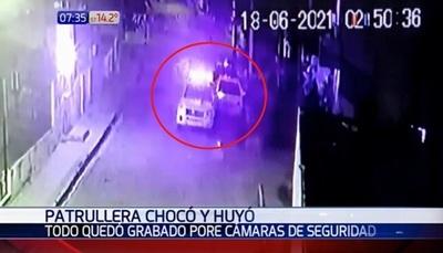 Conductor de patrullera se da a la fuga luego de chocar