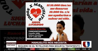 Manuelito necesita G. 90 millones para someterse a una operación en Argentina