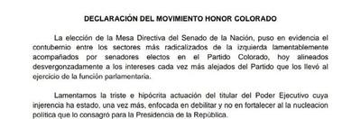 """Elección de """"Cachito"""" es un contubernio con la izquierda, critica Honor Colorado"""