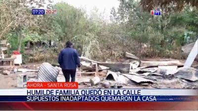 Queman casa de una familia humilde en Santa Rosa del Aguaray