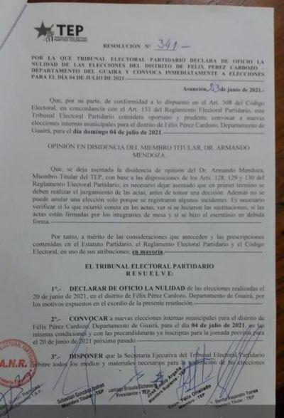 Anulan elecciones coloradas en Félix Pérez Cardozo tras incidentes