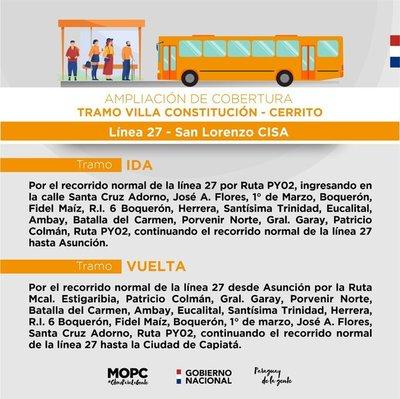 Capiatá: Autorizan a Linea 27 circular por tramo Villa Constitución y Cerrito