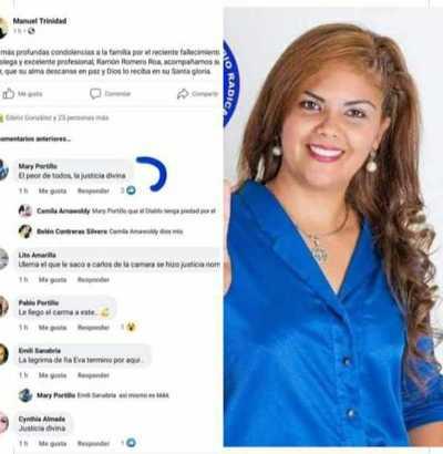 María Portillo festeja la muerte del diputado Ramón Romero Roa
