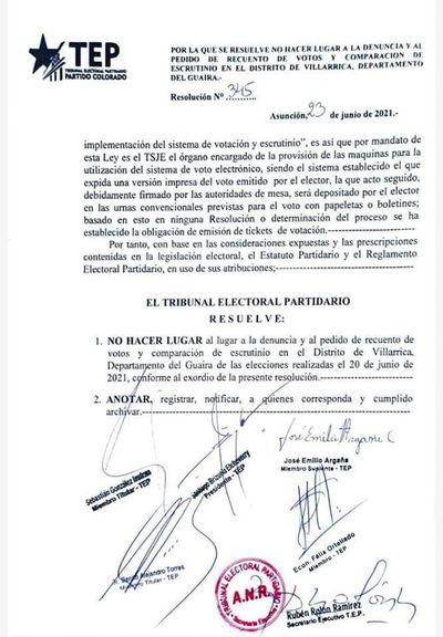 TEP del Partido Colorado rechaza recuento de votos en Villarrica