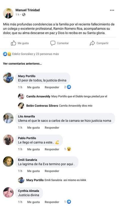 Concejala festeja el fallecimiento del diputado Romero Roa