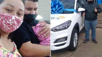 Doble alegría: ganó una camionetaza y nació su bebé