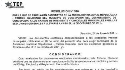 TEP computó departamentos de San Pedro y Concepción