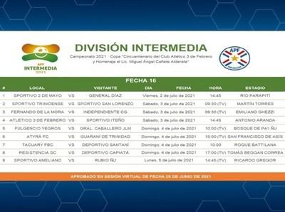 Dos fechas programadas de la Intermedia