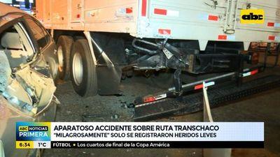 Aparatoso accidente sobre la ruta Transchaco
