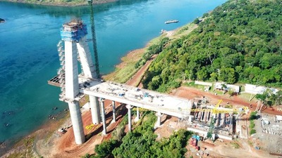 Puente de la Integración: concluyó edificación de primera losa de transición de la torre principal