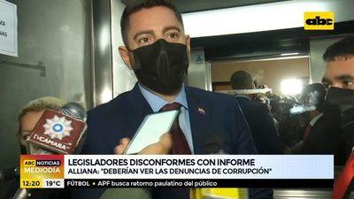 Legisladores disconformes con informe de Marito