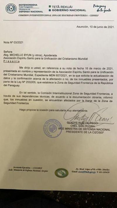 Informe de Ministerio de Defensa ratifica que tierras entregadas por jueza Tania Irún están afectados por franja de seguridad fronteriza
