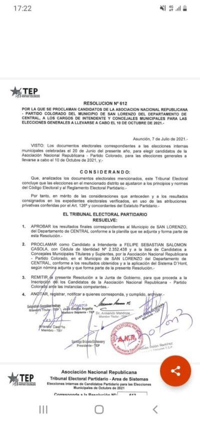 ANR San Lorenzo: Confirmado la lista de los doce candidatos a concejales