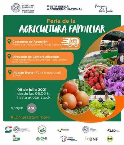 Feria de la Agricultura Familiar Campesina hoy en Asunción, Limpio y San Lorenzo